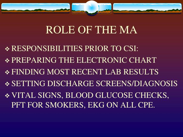 ROLE OF THE MA