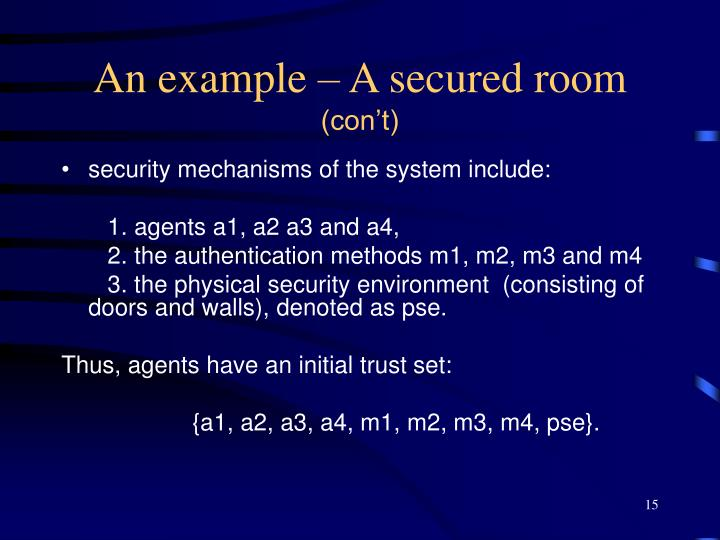 An example – A secured room