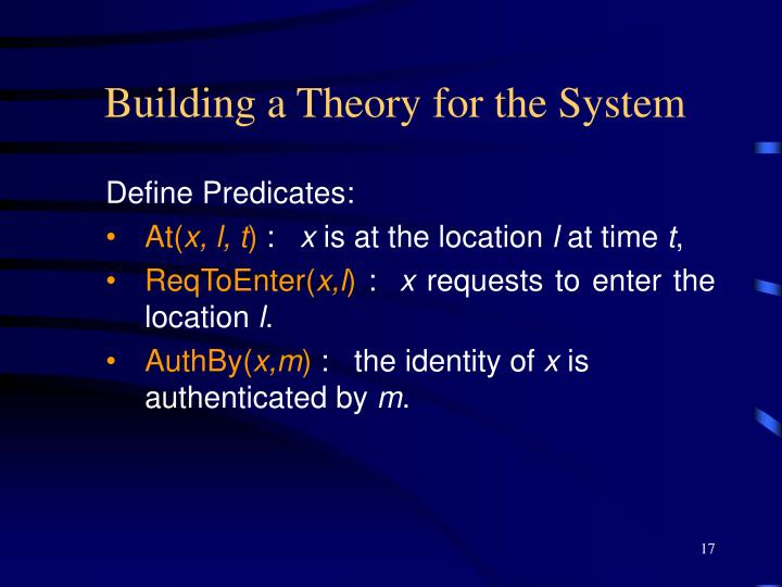 Building a Theory for the System