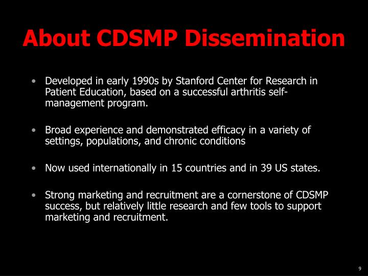 About CDSMP Dissemination