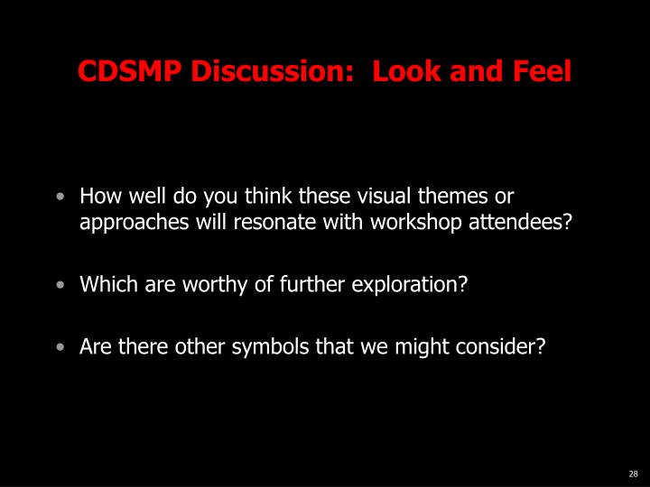 CDSMP Discussion:  Look and Feel