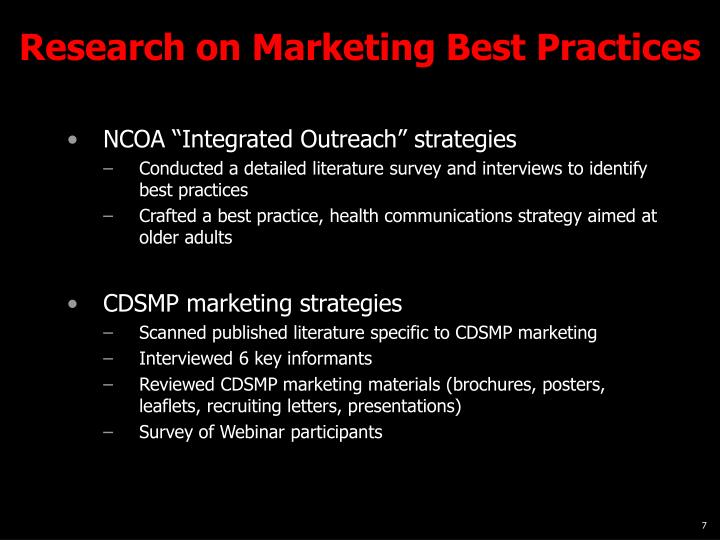 Research on Marketing Best Practices