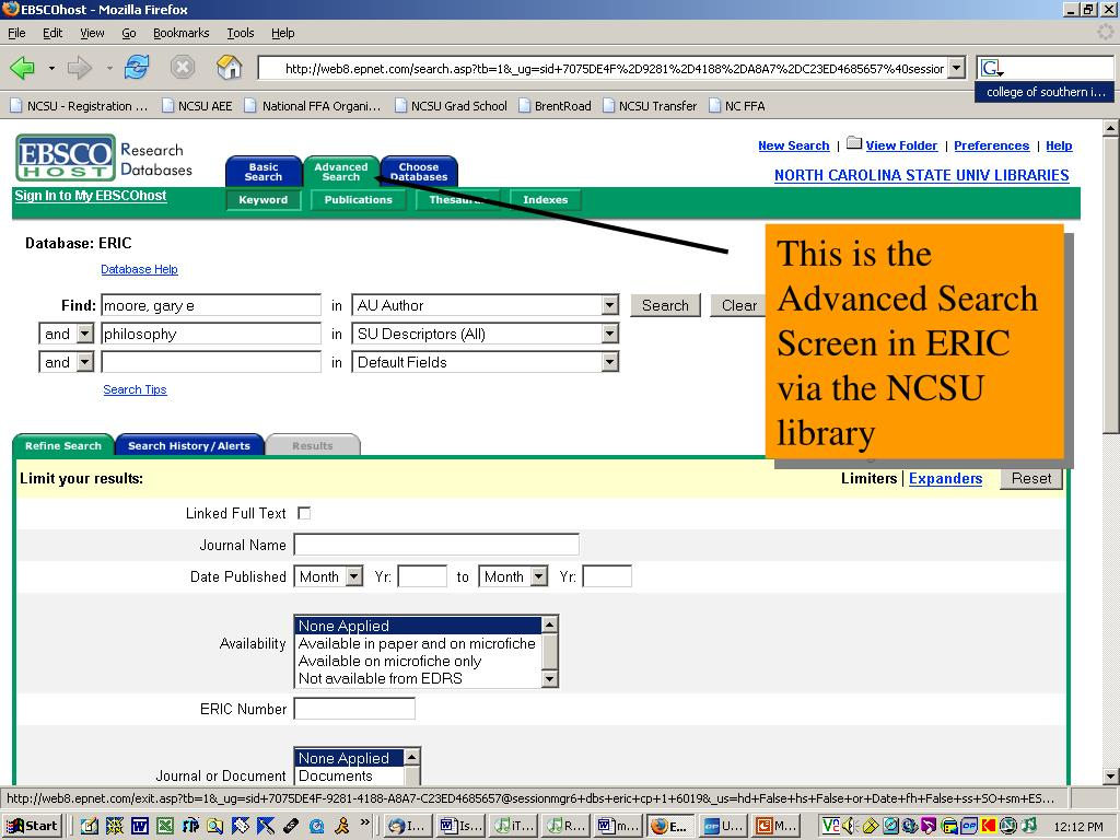 This is the Advanced Search Screen in ERIC via the NCSU library