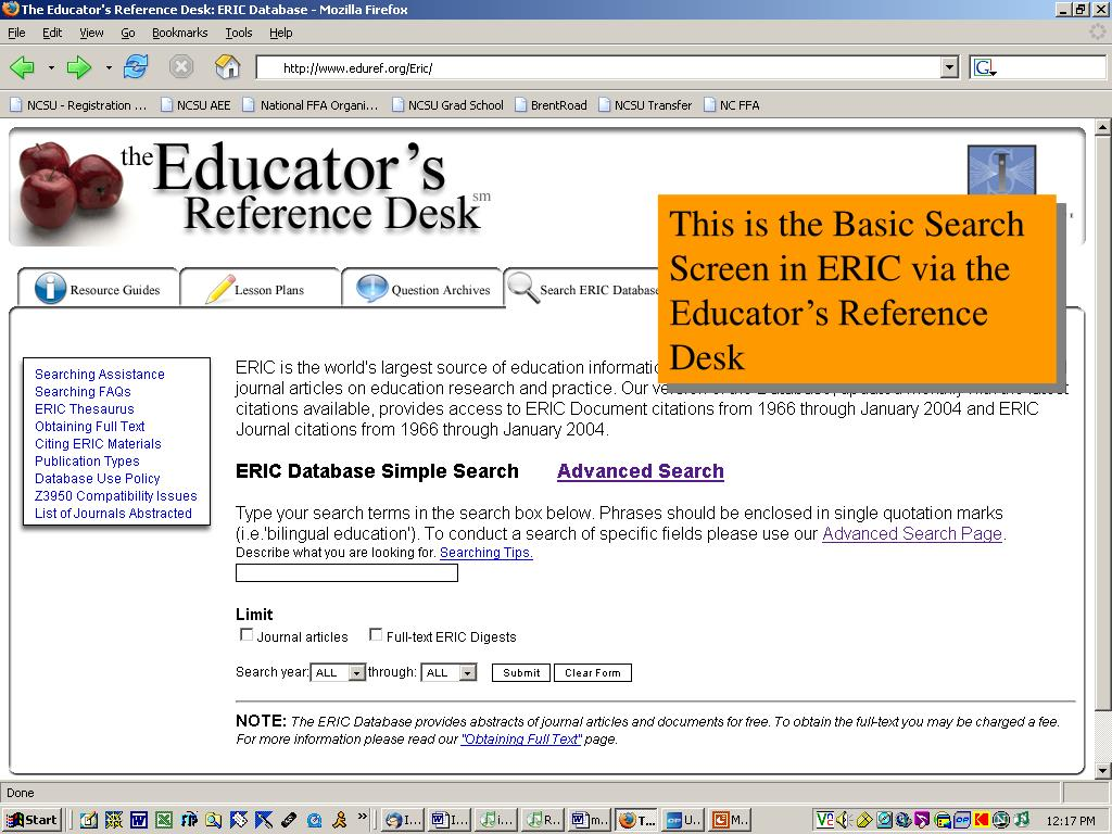 This is the Basic Search Screen in ERIC via the Educator's Reference Desk