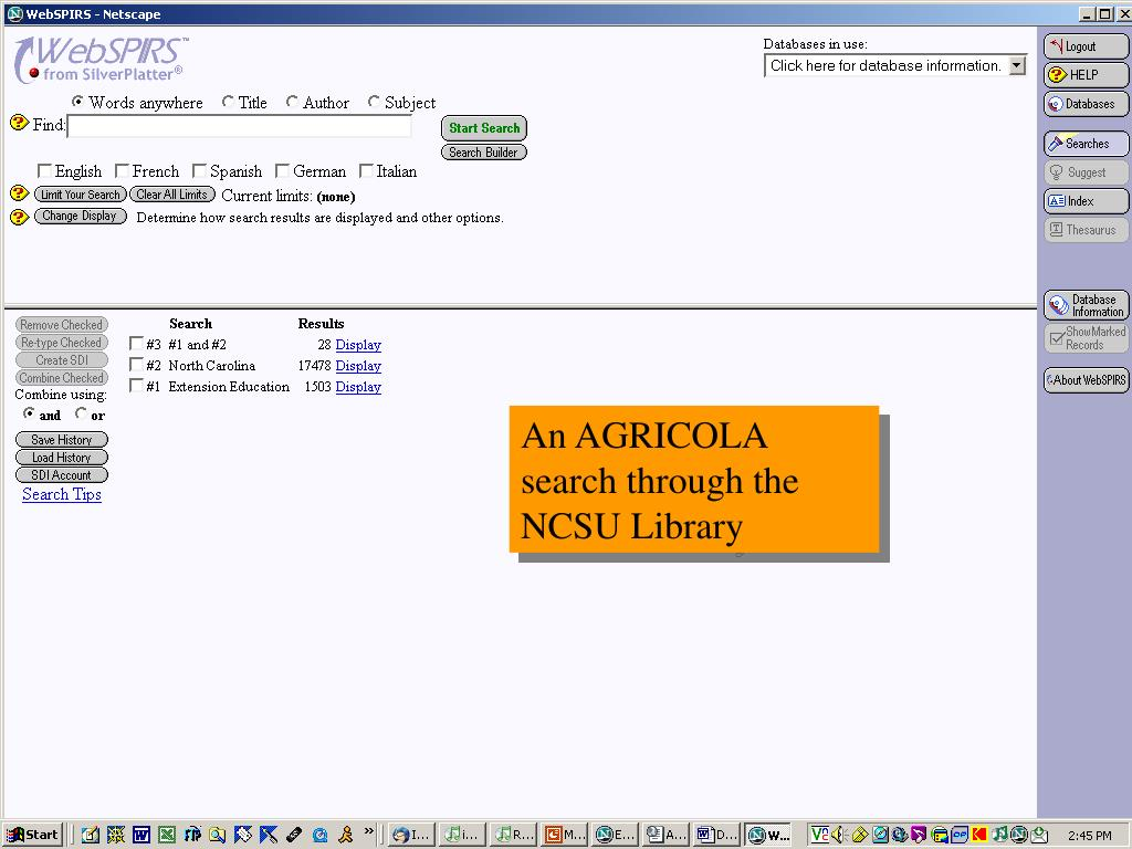 An AGRICOLA search through the NCSU Library