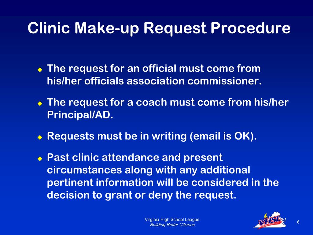 Clinic Make-up Request Procedure