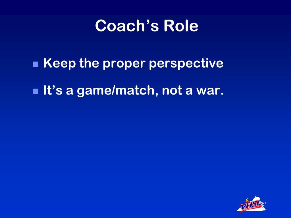Coach's Role