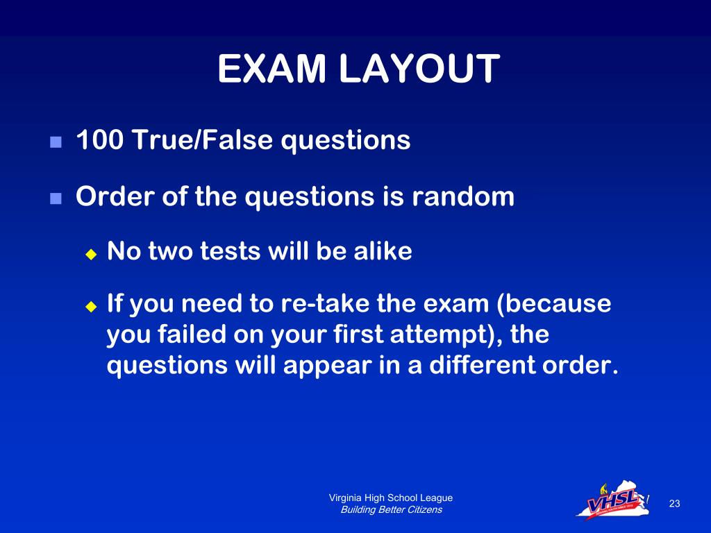EXAM LAYOUT