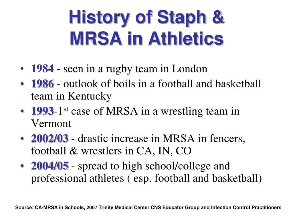 History of Staph &          MRSA in Athletics