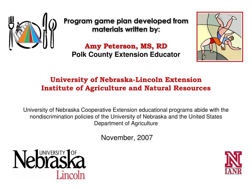 Program game plan developed from