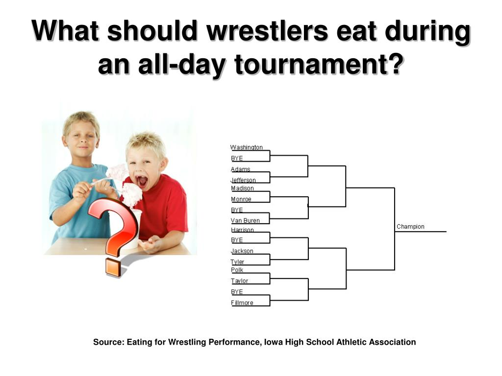 What should wrestlers eat during an all-day tournament?