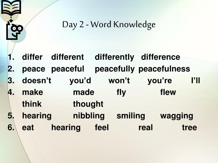 Day 2 - Word Knowledge