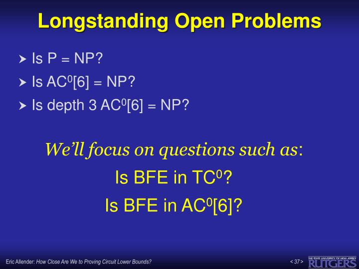 Longstanding Open Problems
