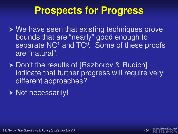 Prospects for Progress