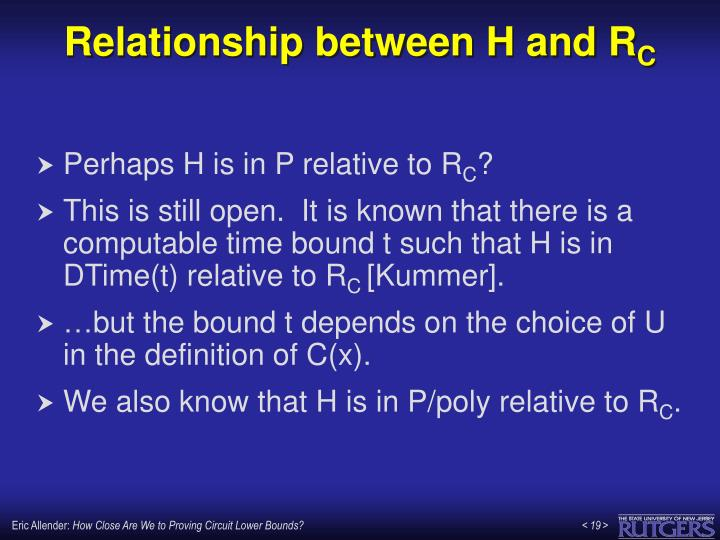 Relationship between H and R