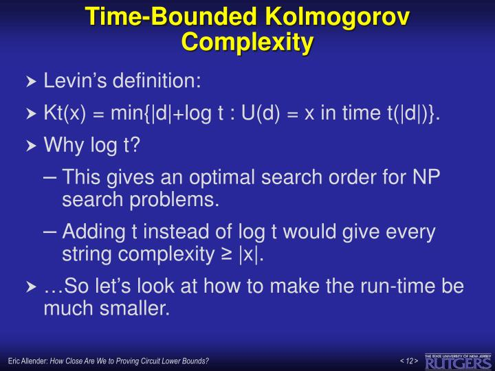 Time-Bounded Kolmogorov Complexity