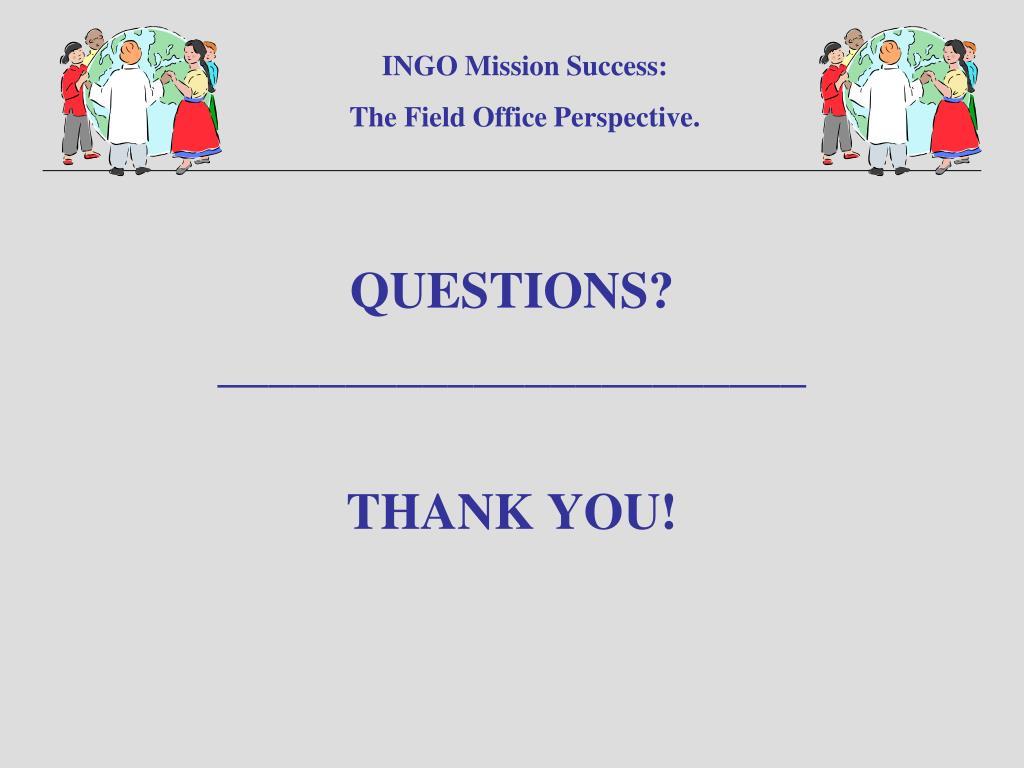 INGO Mission Success: