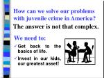 how can we solve our problems with juvenile crime in america