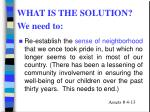 what is the solution we need to