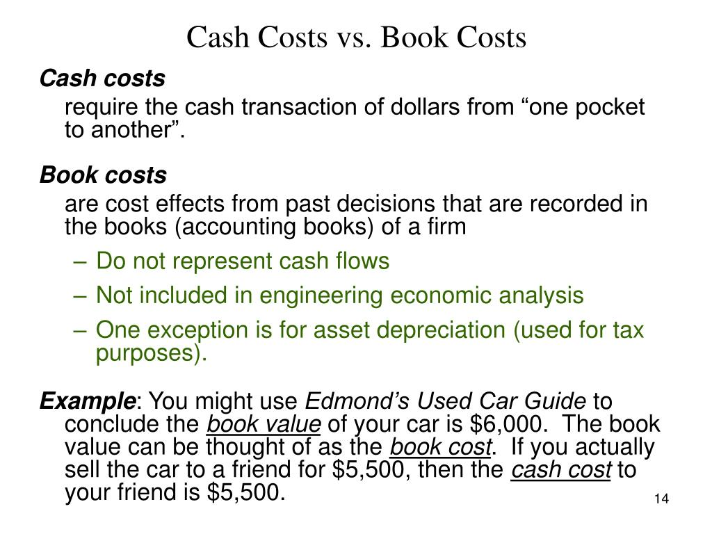 Cash Costs vs. Book Costs