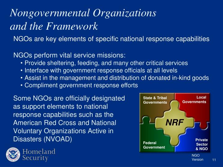 national response framework Issued in january of 2008, the national response framework (nrf) became the guide to how the nation conducts all-hazards response the nrf incorporates important lessons learned from past response activities, and taking into account stakeholder critique of past plans.