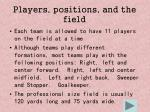 players positions and the field