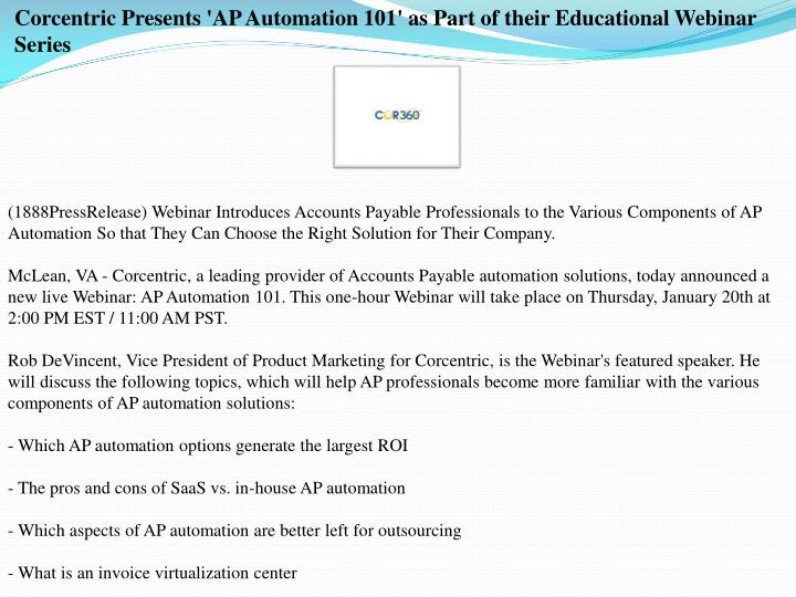 Corcentric Presents 'AP Automation 101' as Part of their Educational Webinar Series