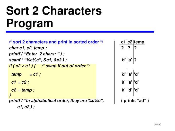 Sort 2 Characters
