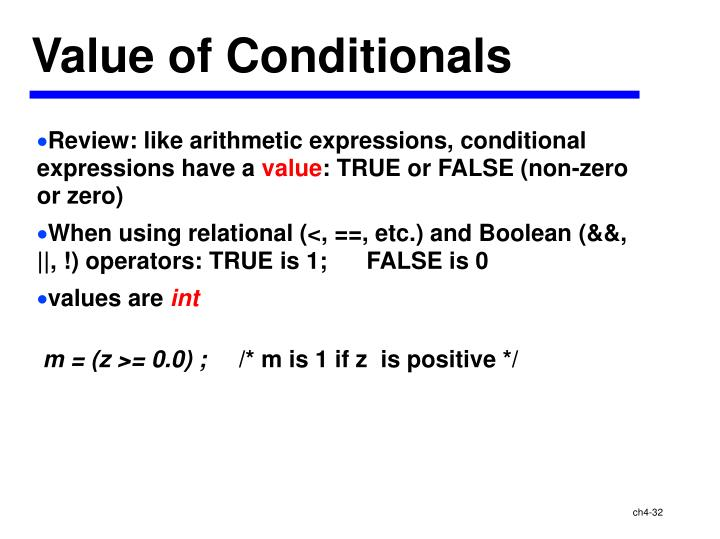 Value of Conditionals