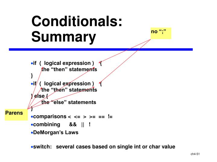 Conditionals: