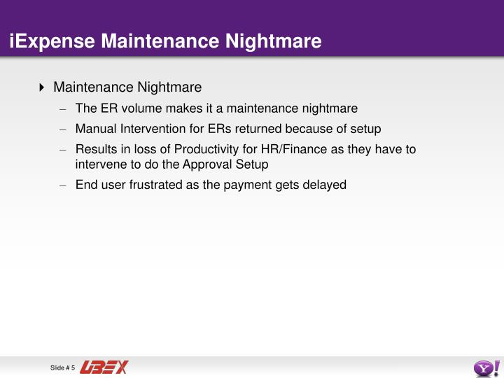 iExpense Maintenance Nightmare