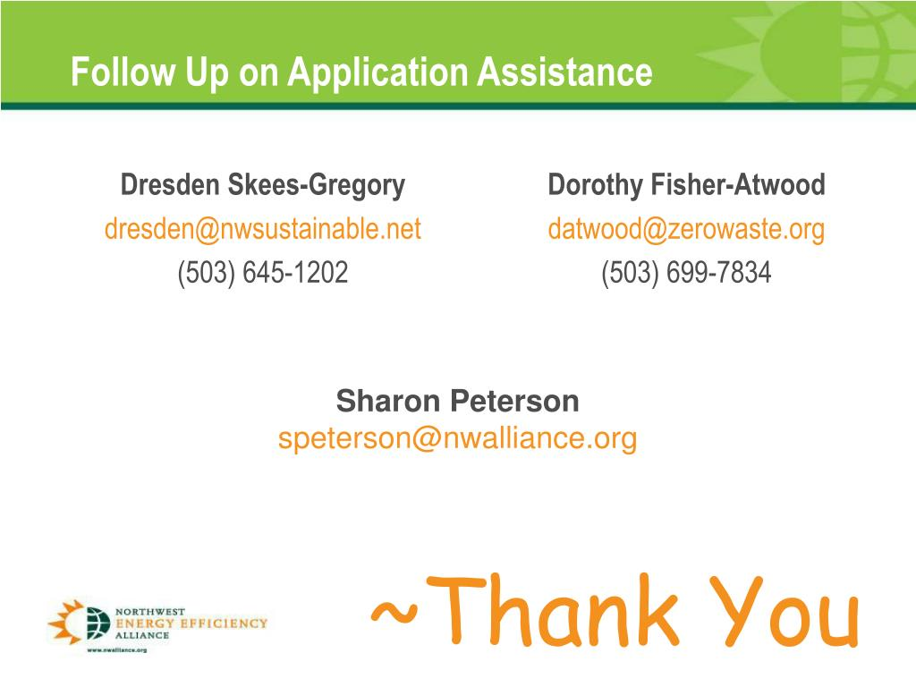 Follow Up on Application Assistance