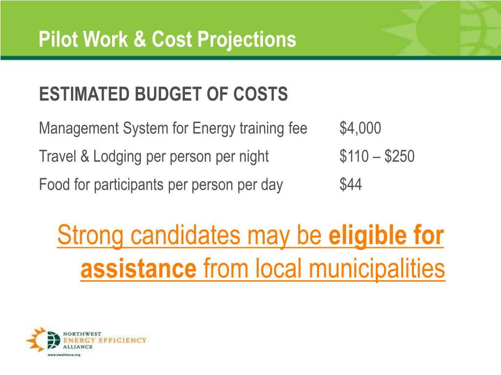 Pilot Work & Cost Projections