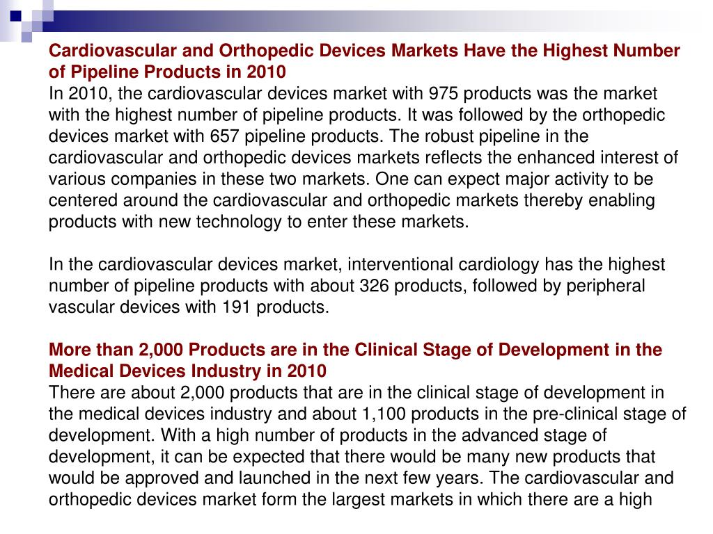 Cardiovascular and Orthopedic Devices Markets Have the Highest Number of Pipeline Products in 2010