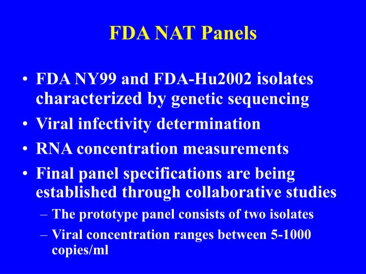 FDA NAT Panels