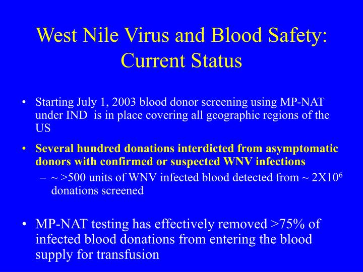 West Nile Virus and Blood Safety: Current Status