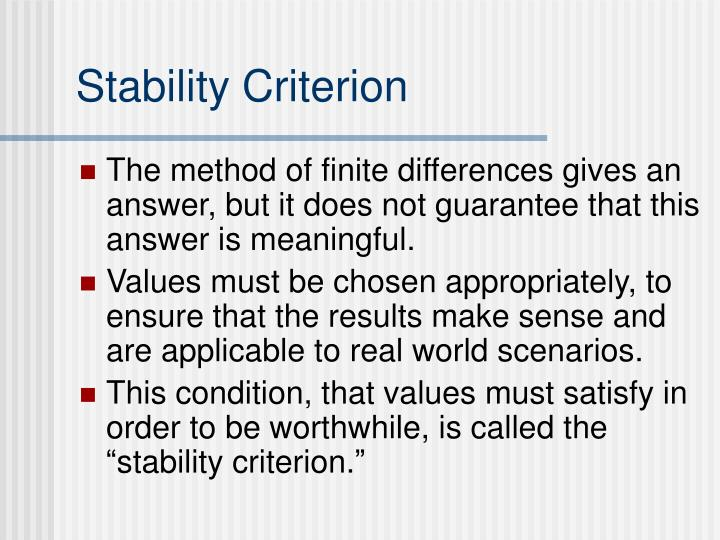 Stability Criterion