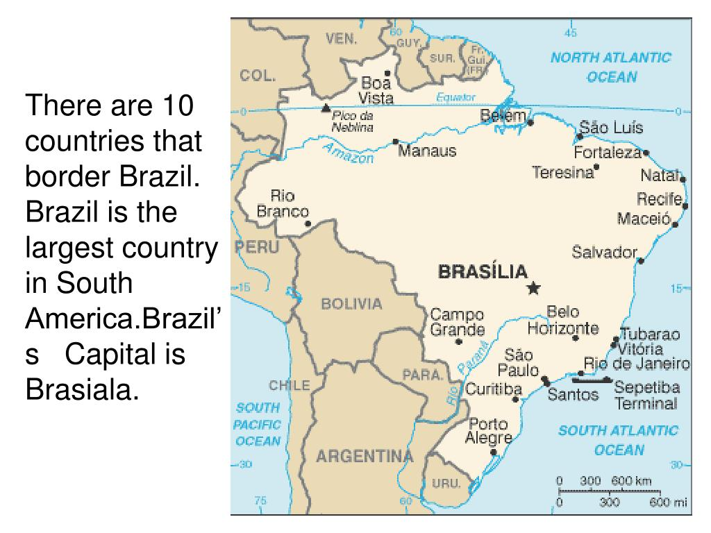 There are 10 countries that border Brazil.