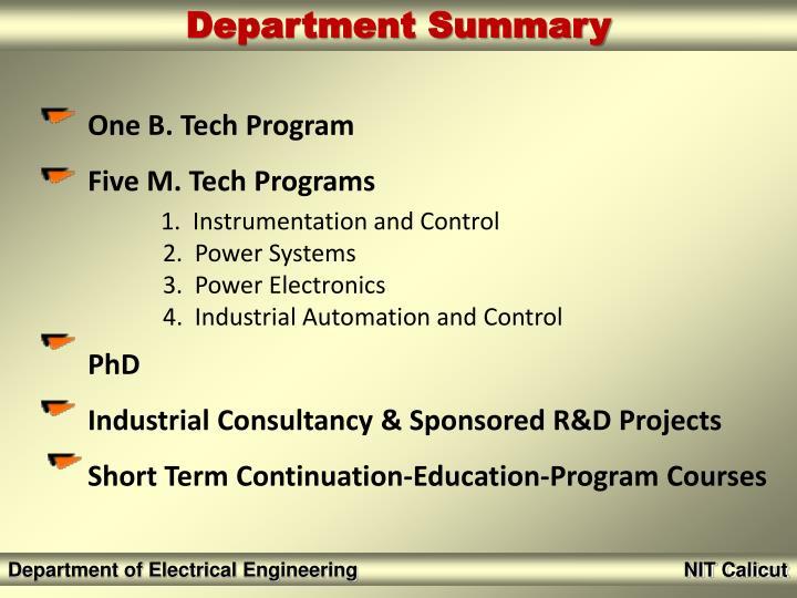 One B. Tech Program