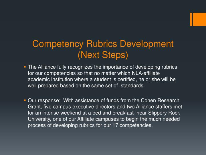 Competency Rubrics Development