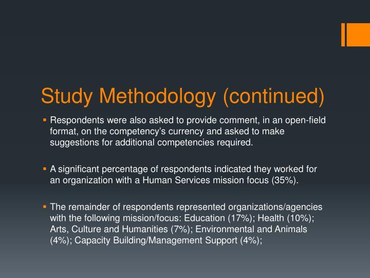 Study Methodology (continued)