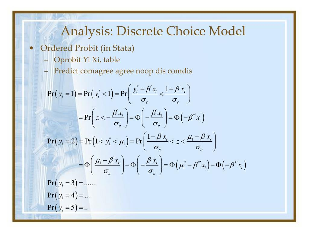 Analysis: Discrete Choice Model