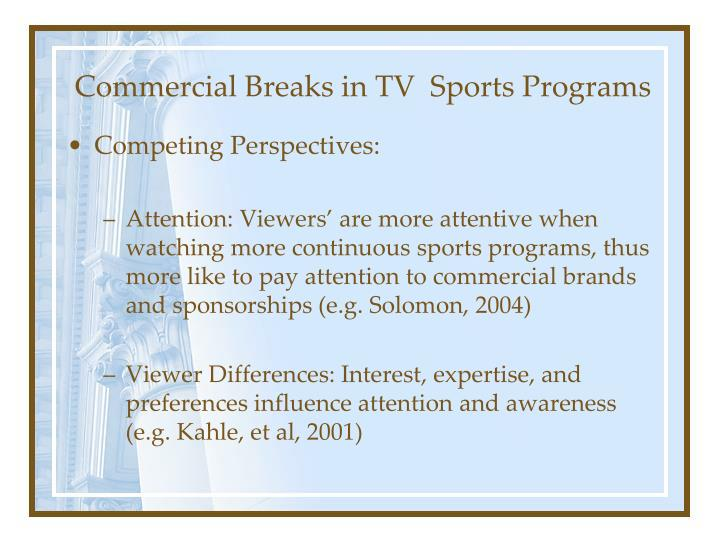 Commercial breaks in tv sports programs