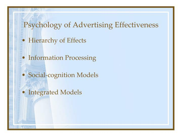 Psychology of advertising effectiveness