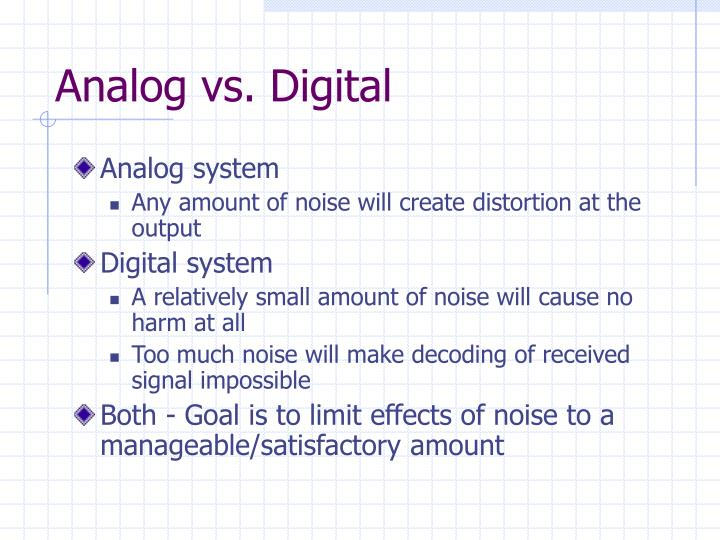 analog vs digital Note: even though digital electronics has taken over analog electronics, we still cannot eliminate analog electronics because of the fact that in real world we use only analog signals ie humans can.