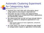 automatic clustering experiment for categorizing apps