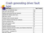 crash generating driver fault type
