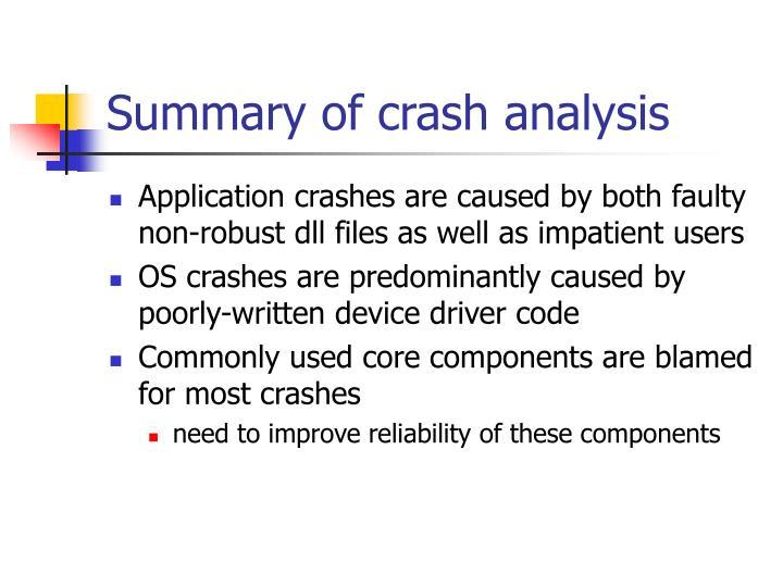 Summary of crash analysis