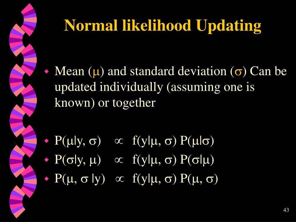 Normal likelihood Updating
