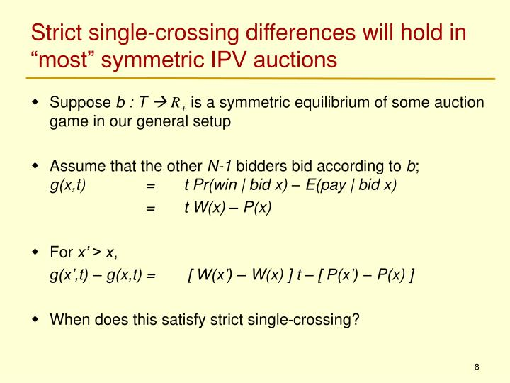 """Strict single-crossing differences will hold in """"most"""" symmetric IPV auctions"""